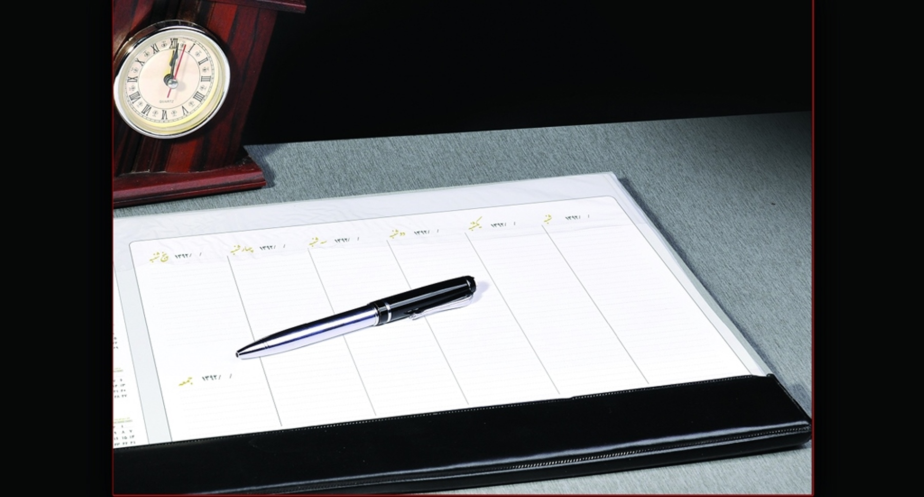 تقویم زیردستی با کاغذ کتان