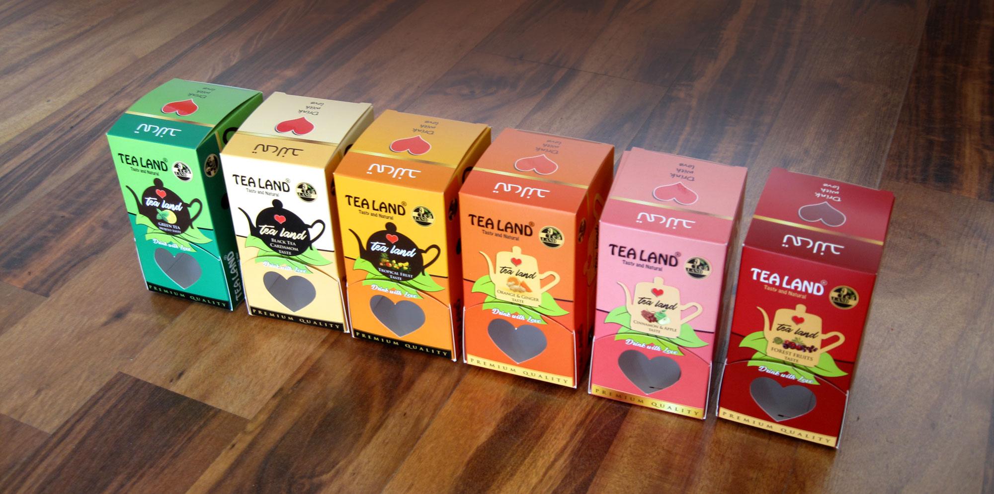 پروژه طراحی وچاپ جعبه های  صادراتی چای های کیسه ای طعم دار تی لند (TEA LAND)
