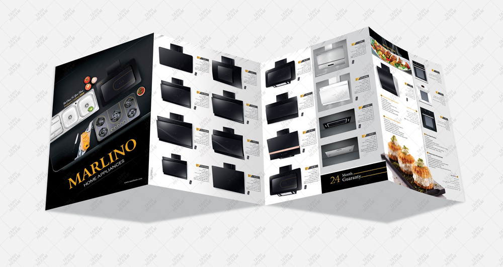 پروژه عکاسی، طراحی و چاپ بروشور 4 لتی شرکت مارلینو